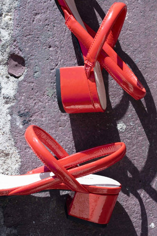 INTENTIONALLY BLANK KIMI RED PAPTENT SANDAL