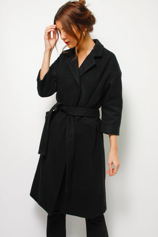 EMERSON FRY BLACK WOOL SHOULDER COAT