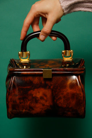 VINTAGE MINI TORTOISE PATENT BAG