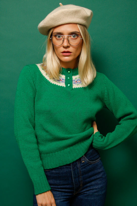 VINTAGE HAND KNIT SCOTTISH WOOL SWEATER