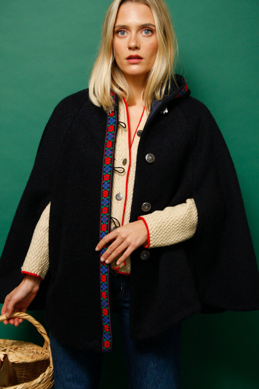 CLOAK & DAGGER BUTTON FRONT CAPE COAT