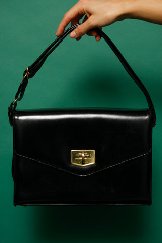 VINTAGE SOFT BLACK LEATHER SHOULDER BAG