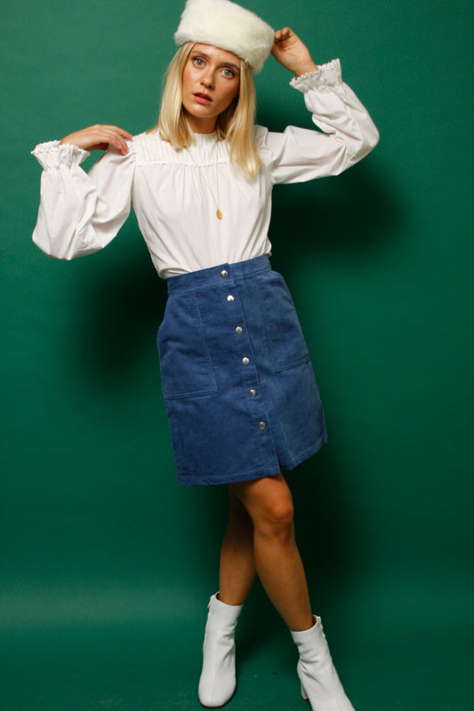 HEATHERS CORDUROY BUTTON FRONT SKIRT