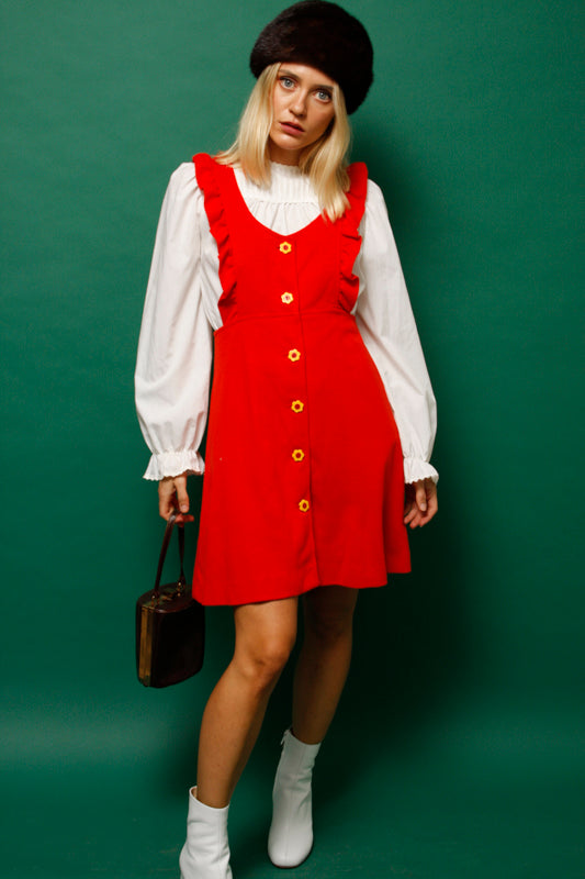VINTAGE 60'S RED OVERALL DRESS WITH FLOWER BUTTONS