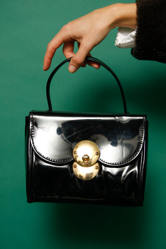 VINTAGE MINI BLACK PATENT BAG