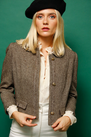 VINTAGE CROPPED BROWN WOOL JACKET