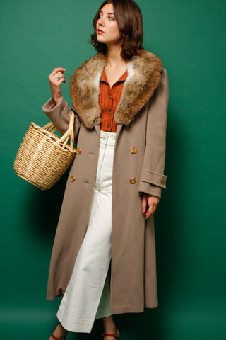 VINTAGE LONG WOOL FUR COLLAR COAT