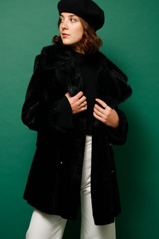 VINTAGE BLACK FAUX FUR VELVET COAT