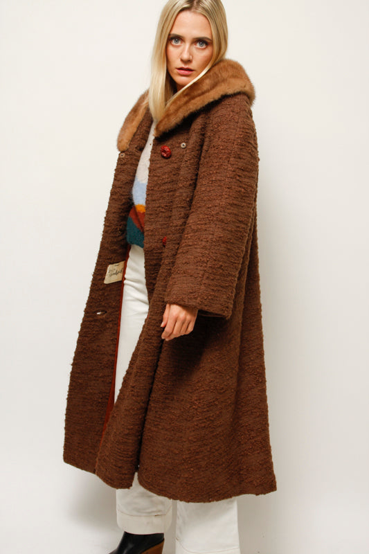 VINTAGE LONG A LINE COAT WITH MINK COLLAR