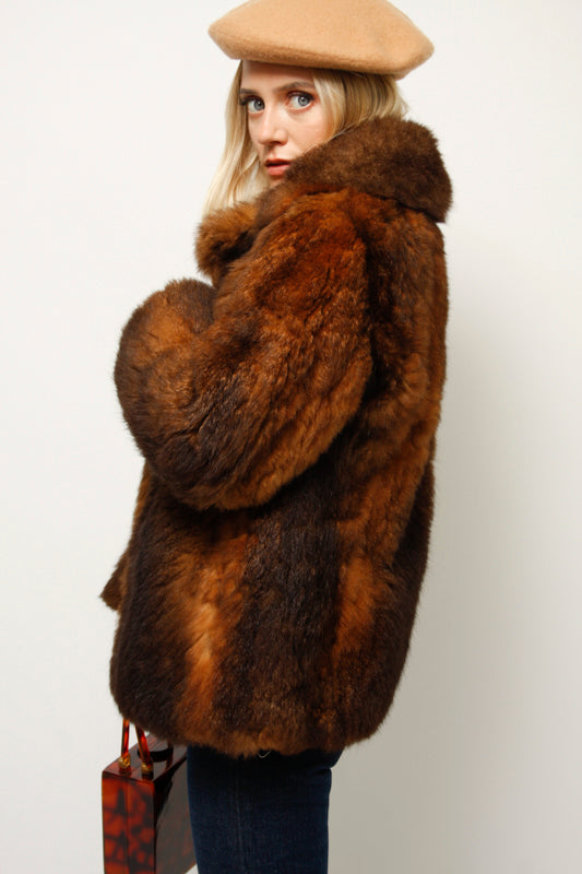 VINTAGE 60'S BROWN FUZZY FUR COAT