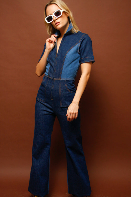 STONED IMMACULATE BLUE JEAN BABY DENIM JUMPSUIT