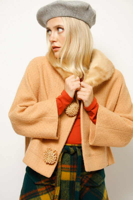 VINTAGE 50'S MINK COLLAR CROPPED JACKET