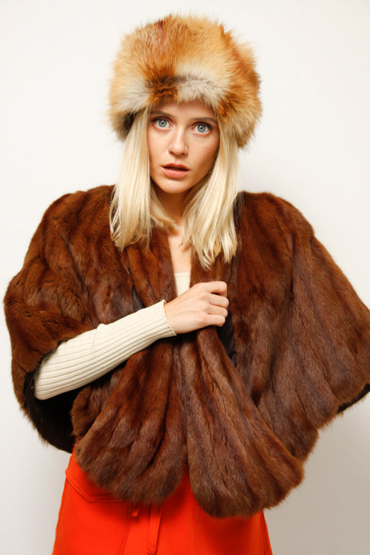 VINTAGE CROPPED MINK CAPE WITH POCKETS