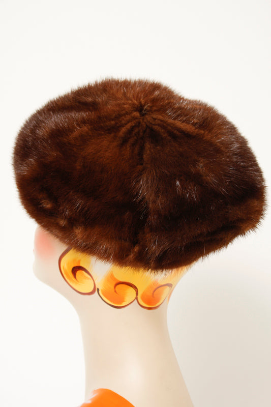VINTAGE BROWN MINK HAT