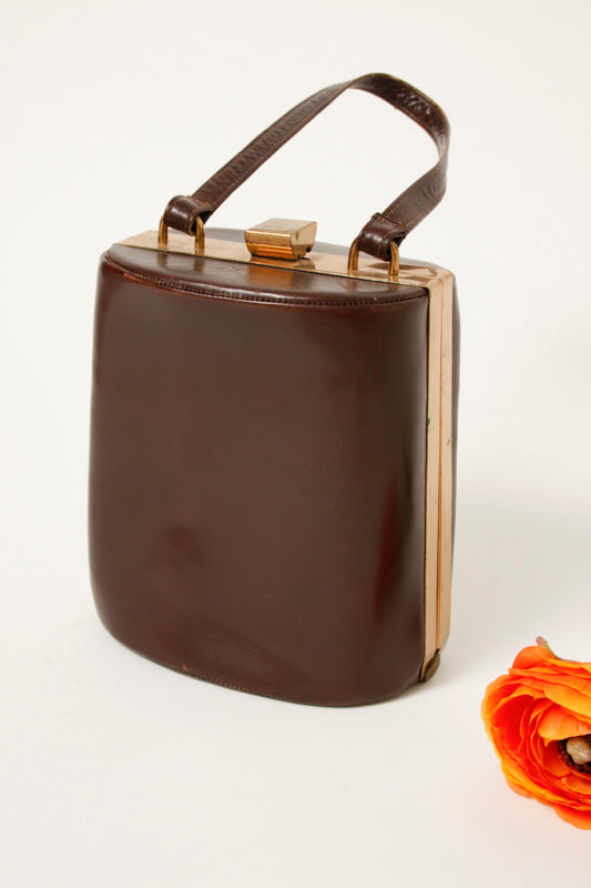 VINTAGE MINI BROWN LEATHER BAG