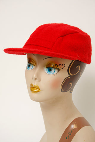 VINTAGE 50'S RED WOOL CAP