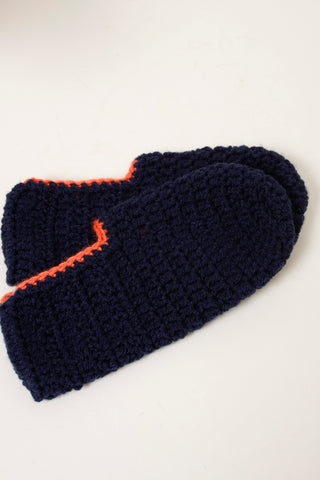 HAND KNIT SLIPPER SOCK, NAVY