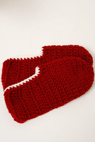 HAND KNIT SLIPPER SOCK, RUBY RED