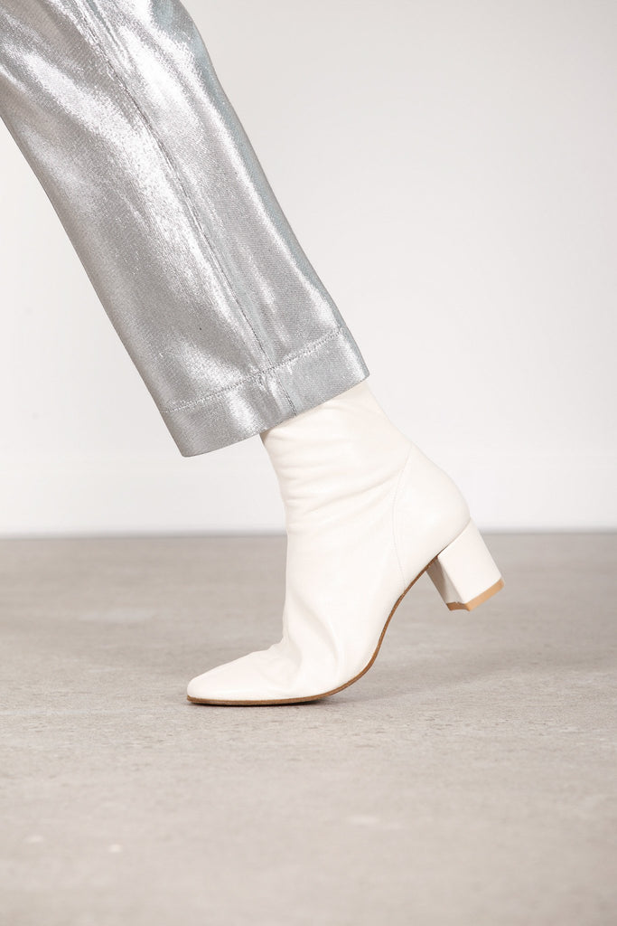 BY FAR SOFIA WHITE LEATHER ANKLE BOOTS - Cloak and Dagger NYC