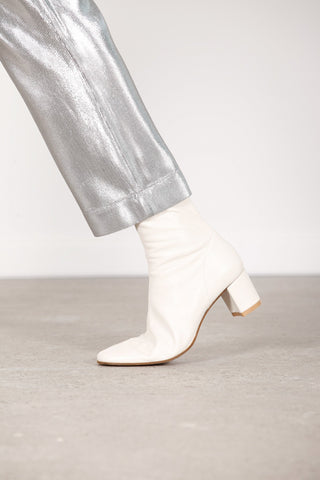 BY FAR SOFIA WHITE LEATHER ANKLE BOOTS