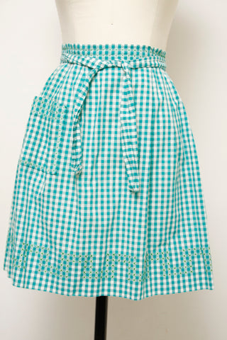 VINTAGE GREEN GINGHAM APRON WITH X STITCH