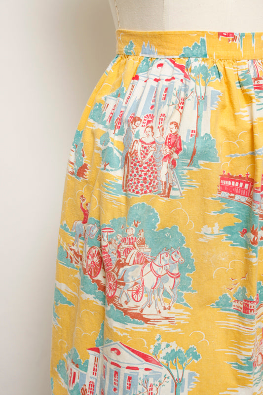 VINTAGE YELLOW SAILBOAT PRINT APRON