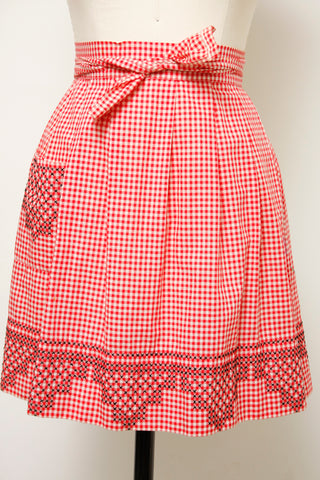 VINTAGE RED GINGHAM APRON WITH BLACK X STITCH