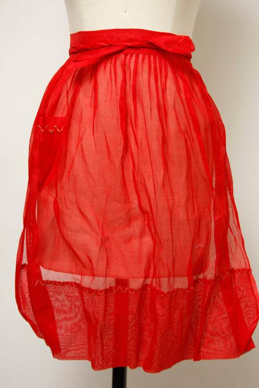 VINTAGE SHEER RED HOLIDAY APRON
