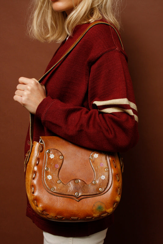VINTAGE HAND TOOLED LEATHER SHOULDER BAG