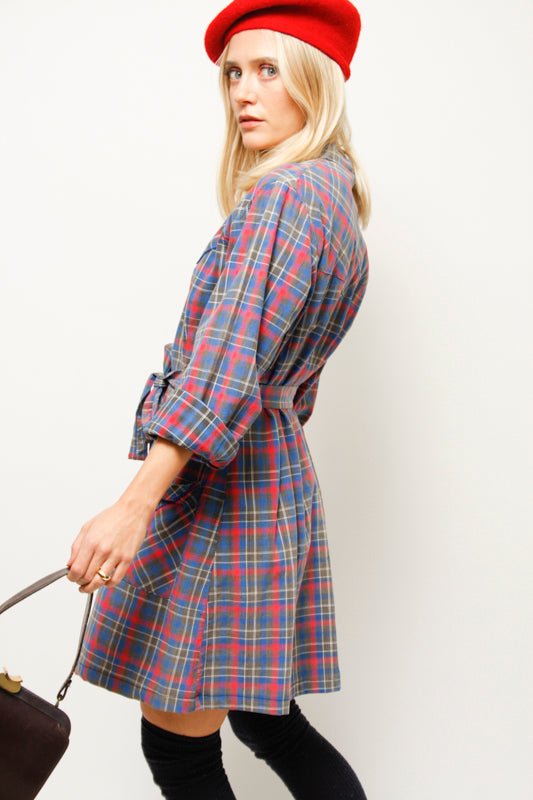 VINTAGE WORN WESTERN PLAID SHIRT DRESS