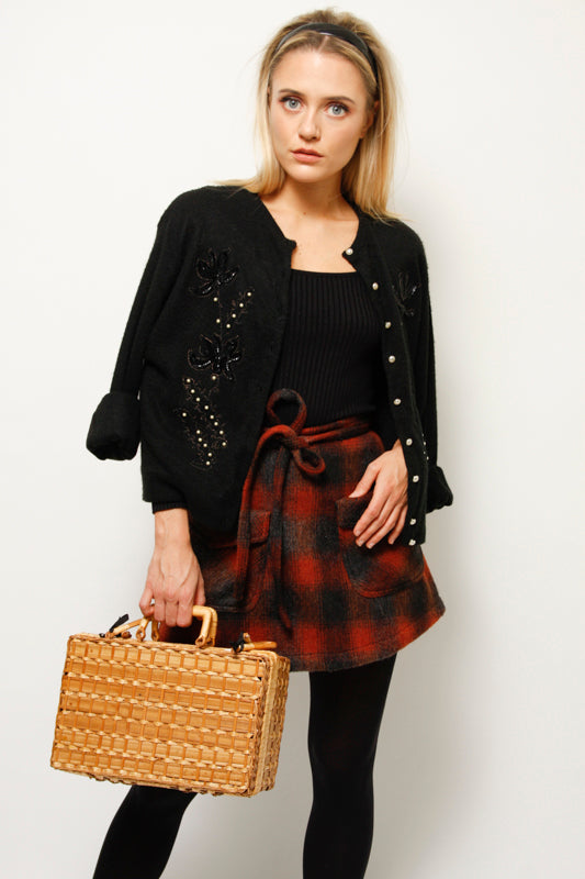 BIRKIN PLAID MINI SKIRT RUST PLAID
