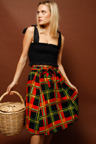 VINTAGE JANE PLAID SKIRT WITH BOW