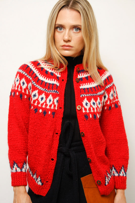 VINTAGE RED INTARSIA SWEATER