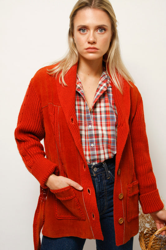 VINTAGE SUEDE AND KNIT JACKET