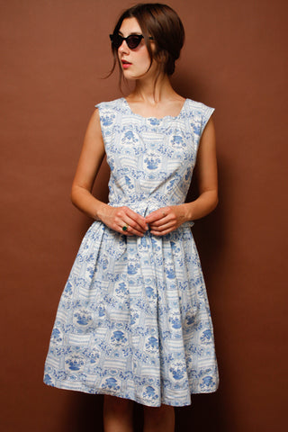 VINTAGE BASKET PRINT DRESS