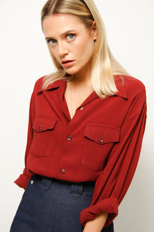 VINTAGE 40'S MAROON BUTTON UP TOP