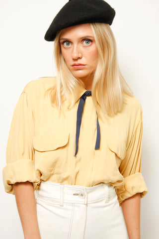 VINTAGE 40'S YELLOW ZIP FRONT TOP