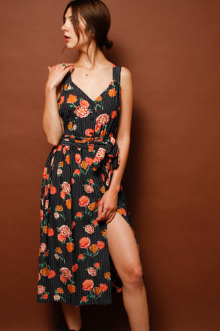 SESSUN YUCCA VALLEY SILK MIDI DRESS