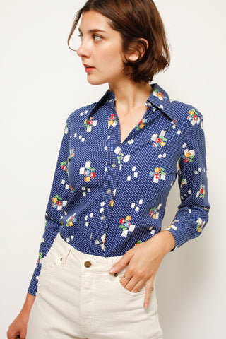 VINTAGE FLOWER POT PRINTED BLOUSE