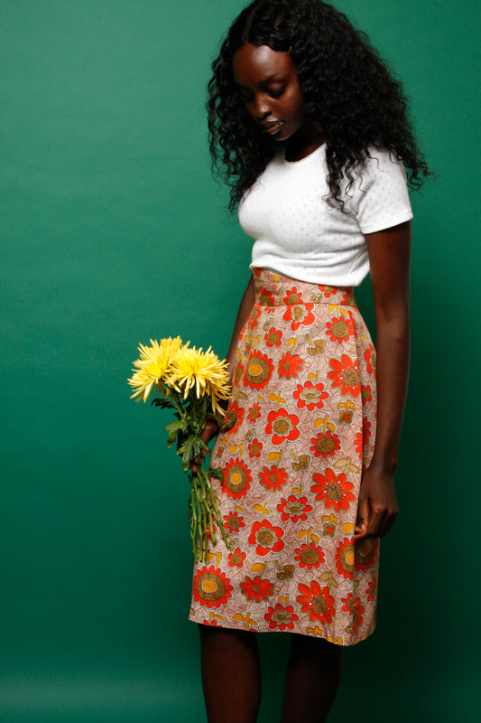 VINTAGE 70S ORANGE PRINTED SKIRT