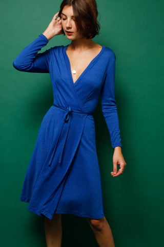 VINTAGE ROYAL BLUE WRAP DRESS