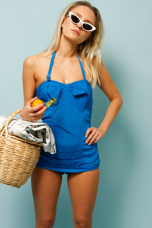 VINTAGE 50'S ROYAL BLUE ONE PIECE SWIMSUIT