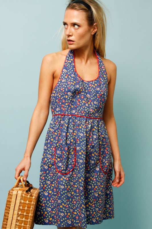 VINATGE 60'S FLORAL HALTER MINI DRESS