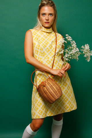 VINTAGE YELLOW PLAID 60'S DRESS