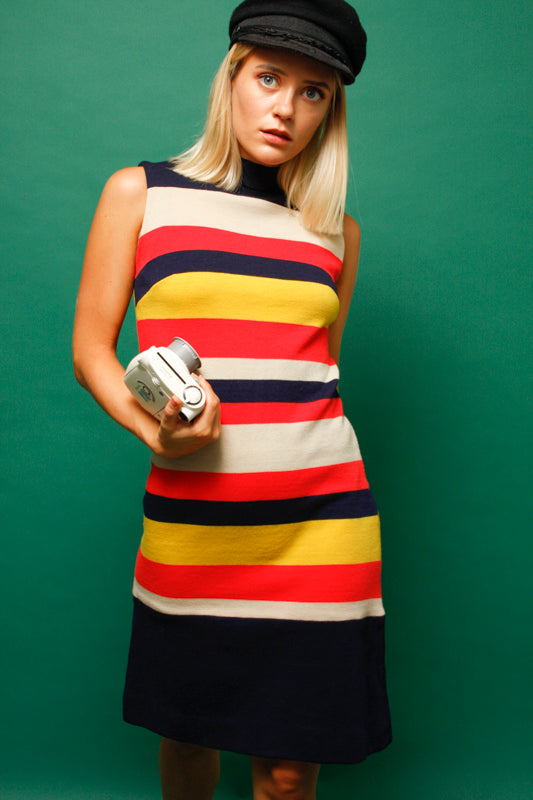 VINTAGE STRIPE KNIT WOOL DRESS