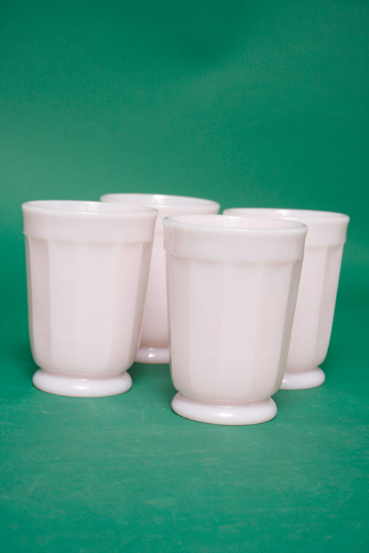 PALE PINK MILK GLASS PANELED TUMBLER - Cloak and Dagger NYC