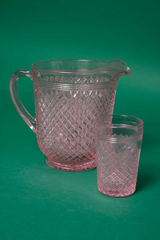 PALE PINK GLASS PITCHER