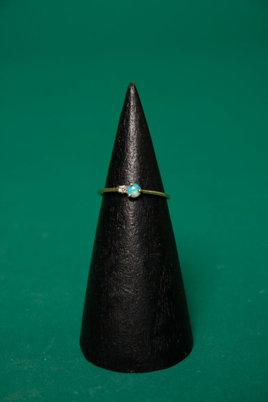 GJENMI 14K SIBLING OPAL AND WHITE DIAMOND RING - Cloak and Dagger NYC