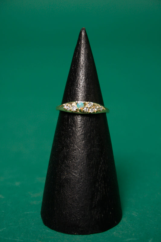 GJENMI 14K COMMUNION OPAL AND WHITE DIAMOND RING