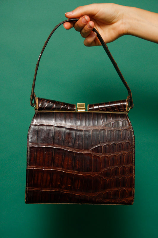 VINTAGE BROWN CROC LADY BAG